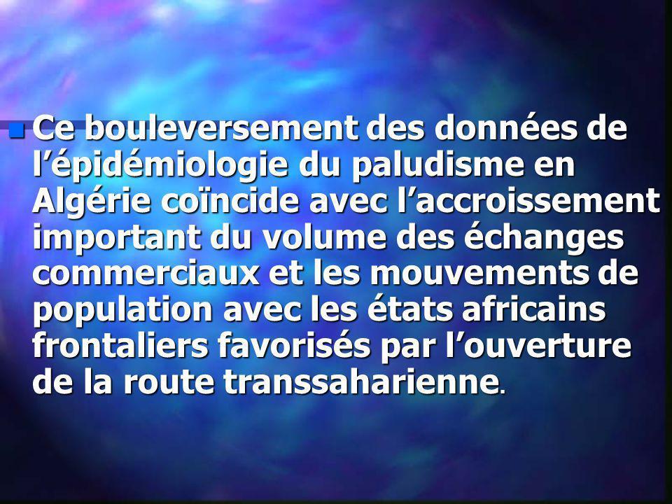 n Ce bouleversement des données de lépidémiologie du paludisme en Algérie coïncide avec laccroissement important du volume des échanges commerciaux et