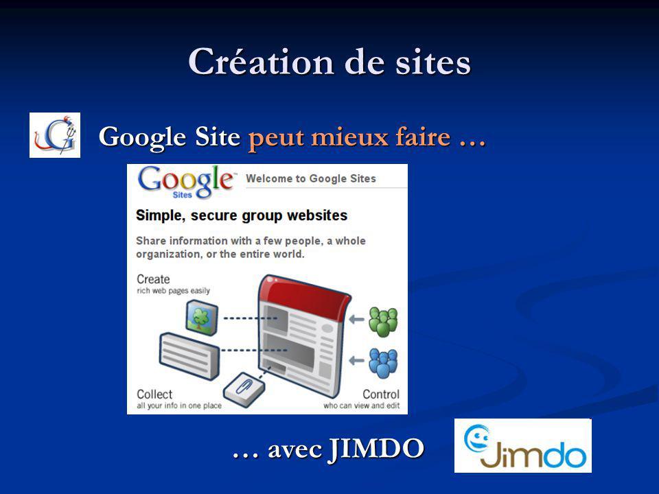 Création de sites Google Site peut mieux faire … Google Site peut mieux faire … … avec JIMDO … avec JIMDO