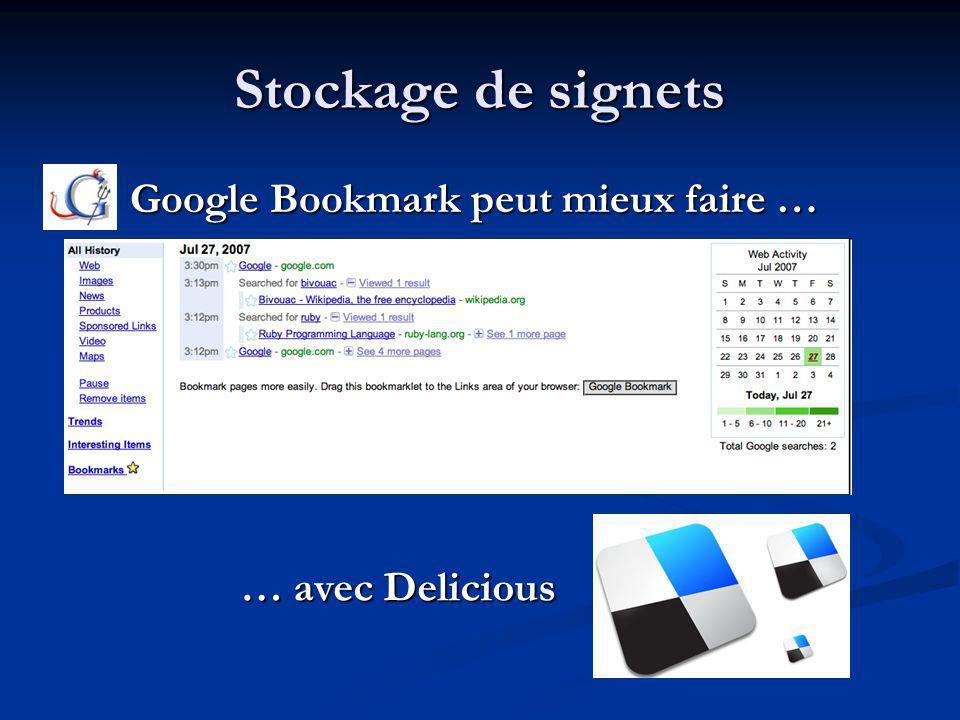 Stockage de signets Google Bookmark peut mieux faire … Google Bookmark peut mieux faire … … avec Delicious