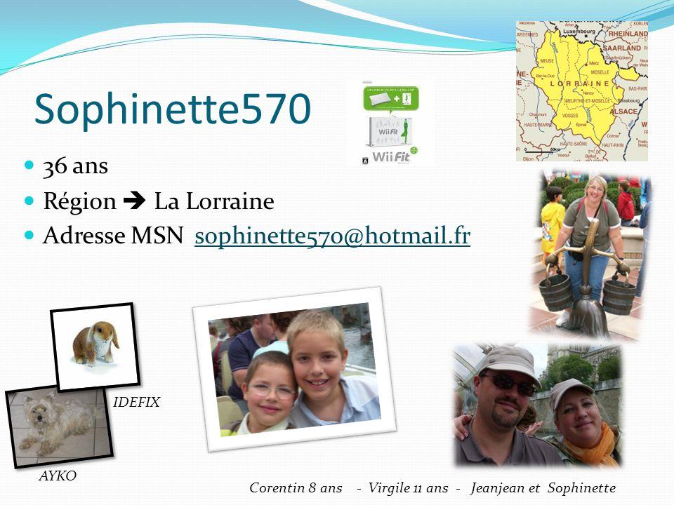Sophinette570 36 ans Région La Lorraine Adresse MSN sophinette570@hotmail.frsophinette570@hotmail.fr Corentin 8 ans - Virgile 11 ans - Jeanjean et Sop
