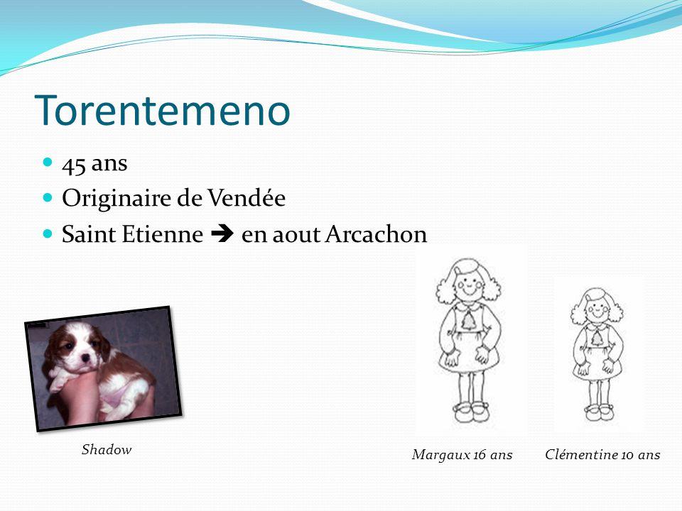 Torentemeno 45 ans Originaire de Vendée Saint Etienne en aout Arcachon Margaux 16 ansClémentine 10 ans Shadow