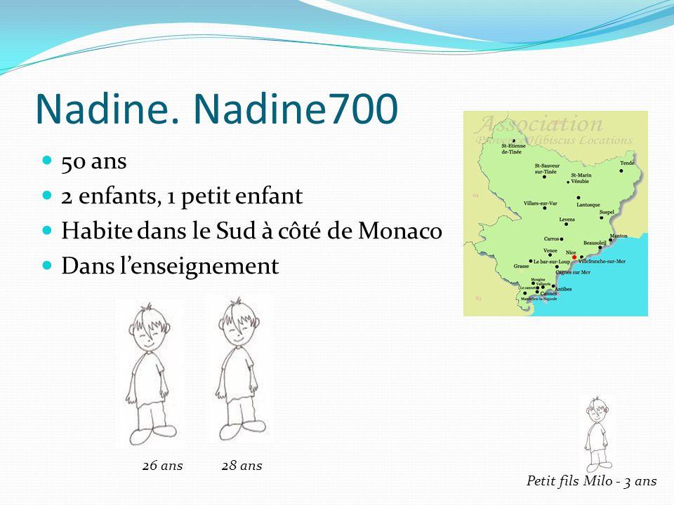 Nadine. Nadine700 50 ans 2 enfants, 1 petit enfant Habite dans le Sud à côté de Monaco Dans lenseignement 26 ans 28 ans Petit fils Milo - 3 ans