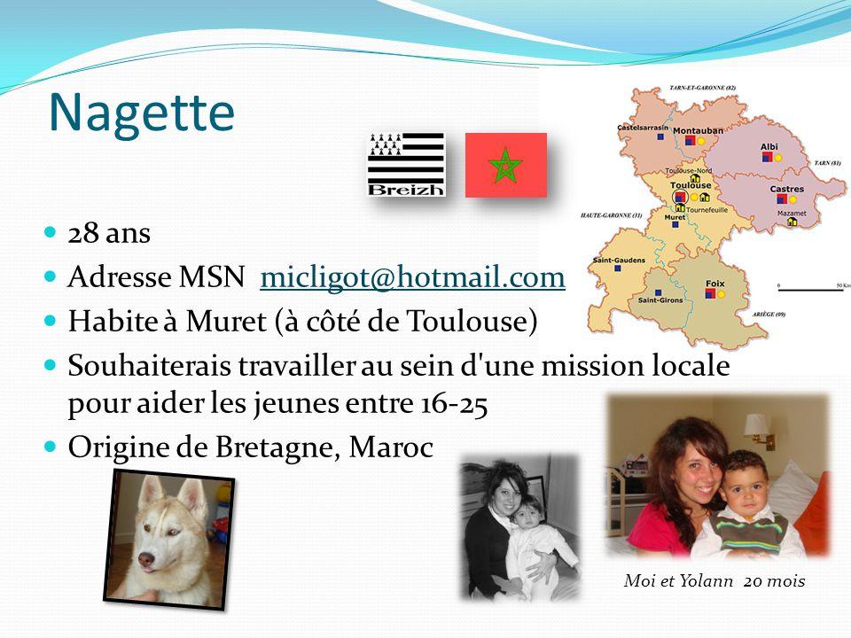Nagette 28 ans Adresse MSN micligot@hotmail.commicligot@hotmail.com Habite à Muret (à côté de Toulouse) Souhaiterais travailler au sein d'une mission