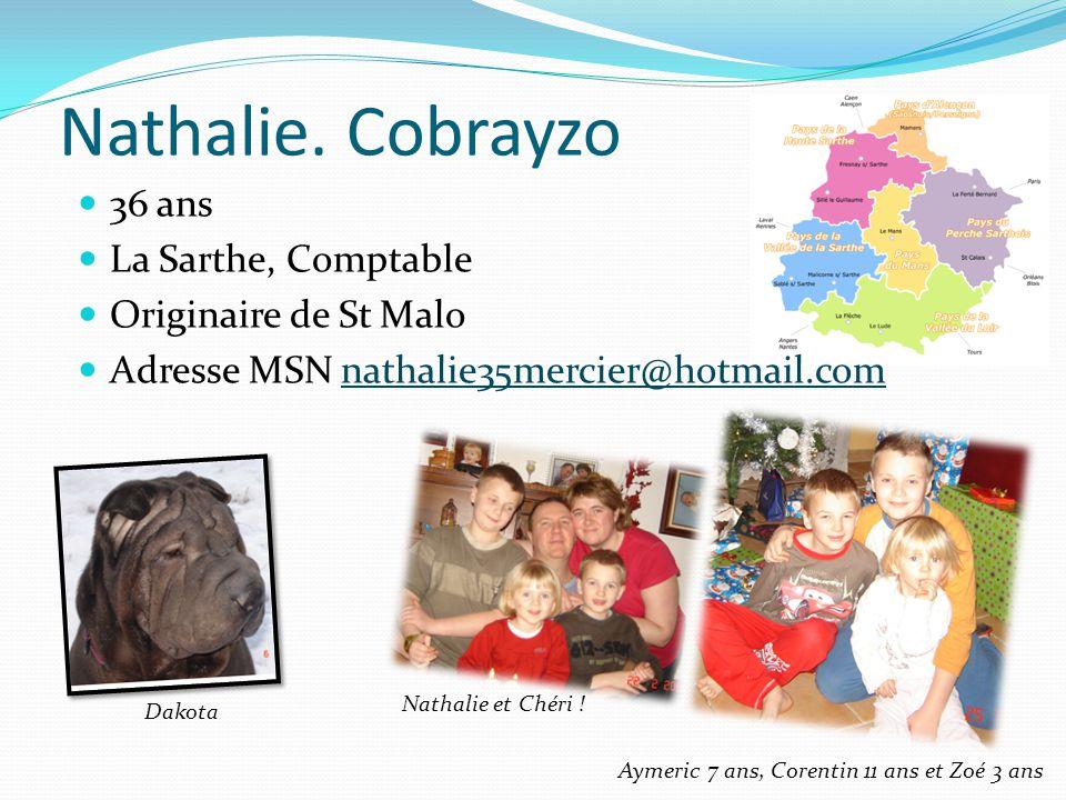 Nathalie. Cobrayzo 36 ans La Sarthe, Comptable Originaire de St Malo Adresse MSN nathalie35mercier@hotmail.comnathalie35mercier@hotmail.com Aymeric 7