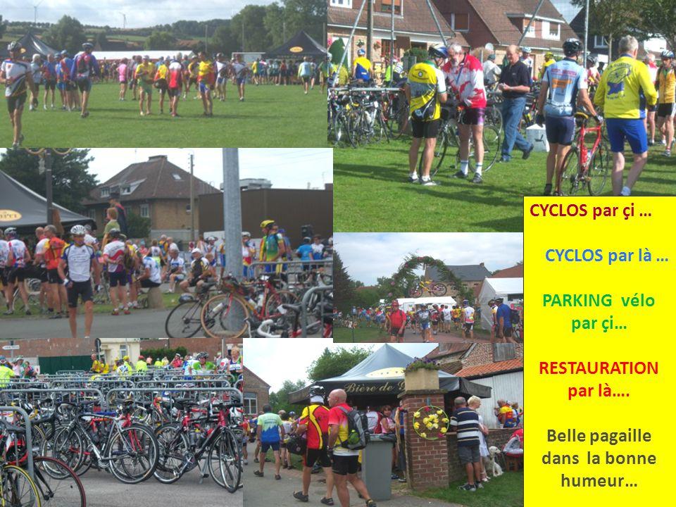 CYCLOS par çi … CYCLOS par là … PARKING vélo par çi… RESTAURATION par là….