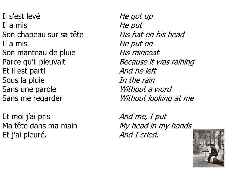 Il sest levé Il a mis Son chapeau sur sa tête Il a mis Son manteau de pluie Parce quil pleuvait Et il est parti Sous la pluie Sans une parole Sans me