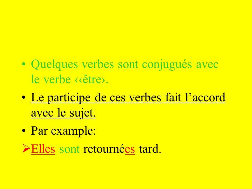 Quelques verbes sont conjugués avec le verbe être.