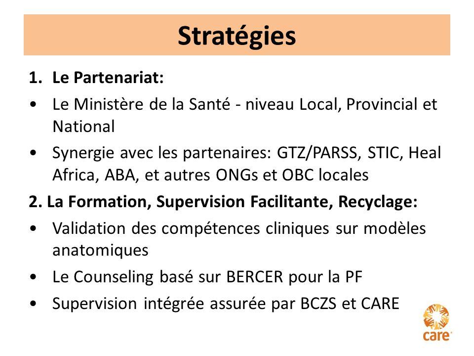 Stratégies 1.Le Partenariat: Le Ministère de la Santé - niveau Local, Provincial et National Synergie avec les partenaires: GTZ/PARSS, STIC, Heal Africa, ABA, et autres ONGs et OBC locales 2.