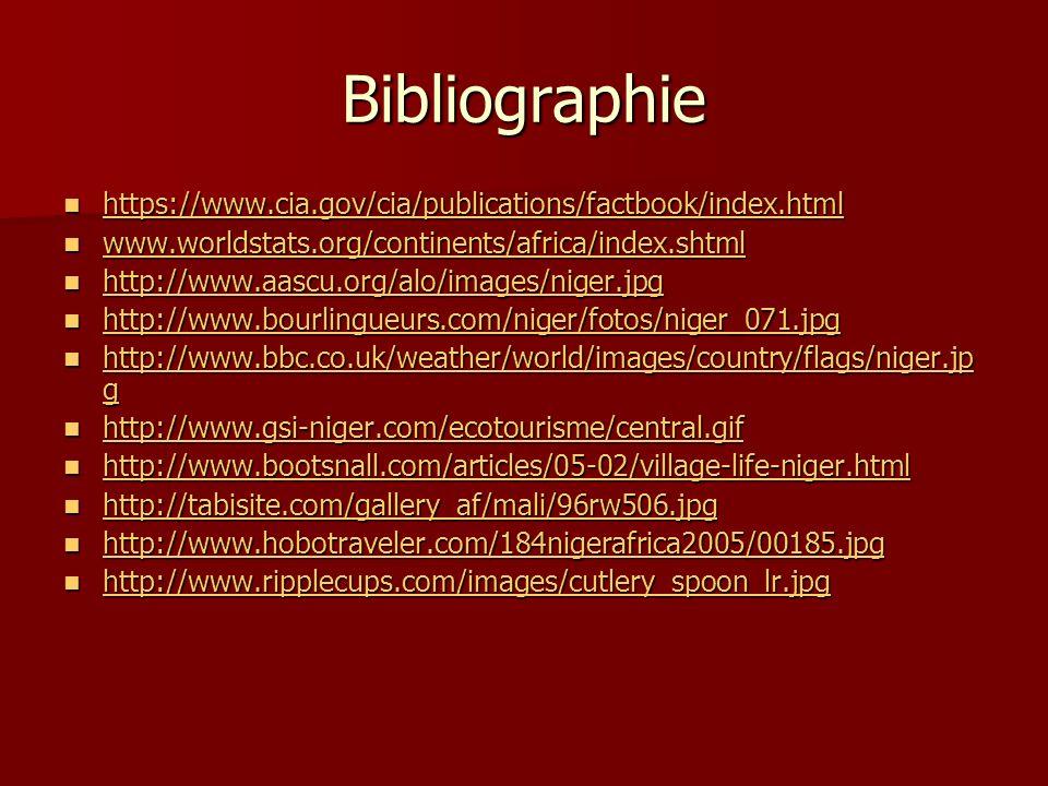 Bibliographie https://www.cia.gov/cia/publications/factbook/index.html https://www.cia.gov/cia/publications/factbook/index.html https://www.cia.gov/ci