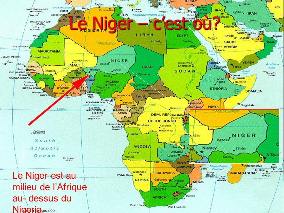 Le Niger – cest où? Le Niger est au milieu de lAfrique au- dessus du Nigeria.