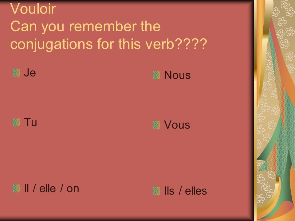 Vouloir Can you remember the conjugations for this verb???? Je Tu Il / elle / on Nous Vous Ils / elles