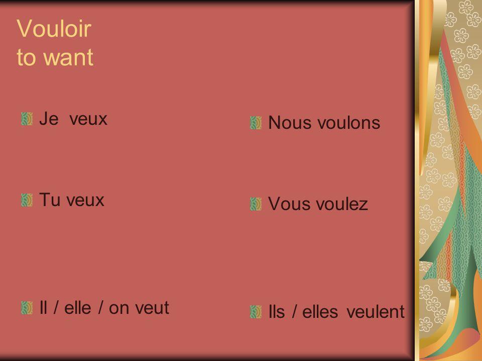 The verb pouvoir( to be able) is similar ESSAYEZ!!! JE TU IL, ELLE,ON NOUS VOUS ILS, ELLES