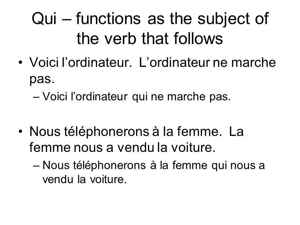 Qui – functions as the subject of the verb that follows Voici lordinateur.