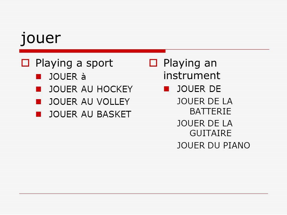 jouer Playing a sport JOUER à JOUER AU HOCKEY JOUER AU VOLLEY JOUER AU BASKET Playing an instrument JOUER DE JOUER DE LA BATTERIE JOUER DE LA GUITAIRE