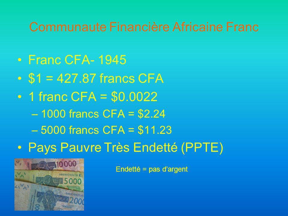 Communaute Financière Africaine Franc Franc CFA- 1945 $1 = 427.87 francs CFA 1 franc CFA = $0.0022 –1000 francs CFA = $2.24 –5000 francs CFA = $11.23