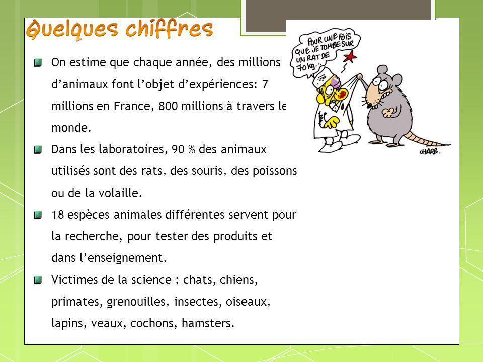On estime que chaque année, des millions danimaux font lobjet dexpériences: 7 millions en France, 800 millions à travers le monde. Dans les laboratoir
