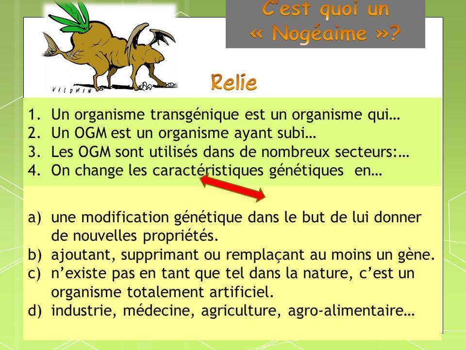 1.Un organisme transgénique est un organisme qui… 2.Un OGM est un organisme ayant subi… 3.Les OGM sont utilisés dans de nombreux secteurs:… 4.On chang