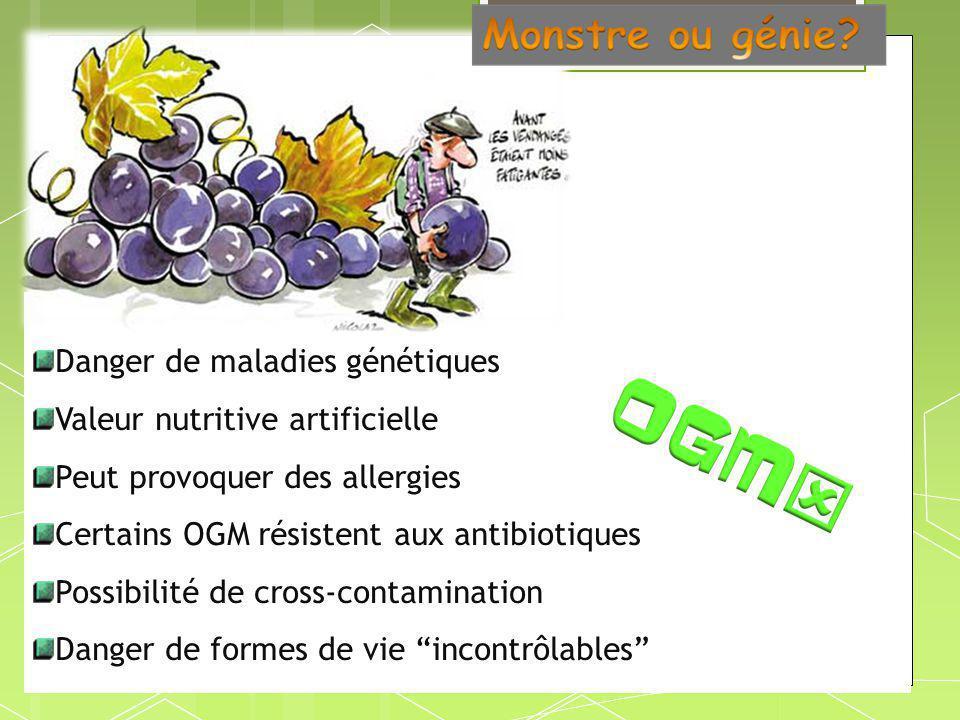 Danger de maladies génétiques Valeur nutritive artificielle Peut provoquer des allergies Certains OGM résistent aux antibiotiques Possibilité de cross