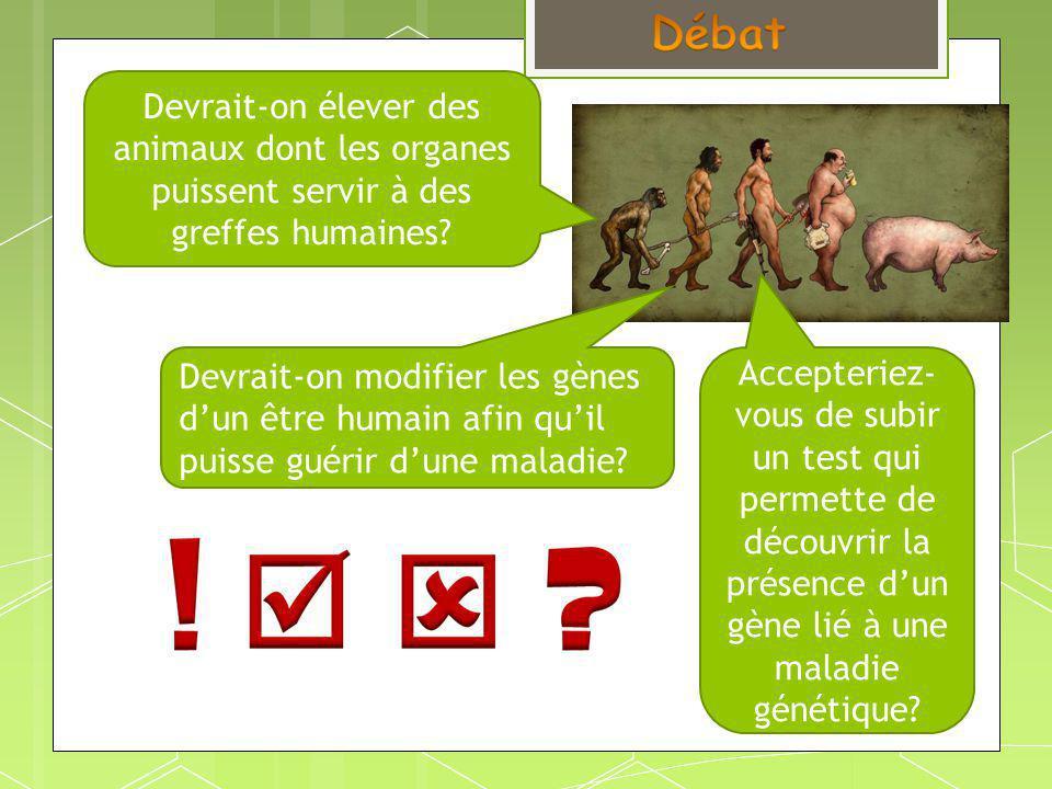 Devrait-on élever des animaux dont les organes puissent servir à des greffes humaines? Accepteriez- vous de subir un test qui permette de découvrir la