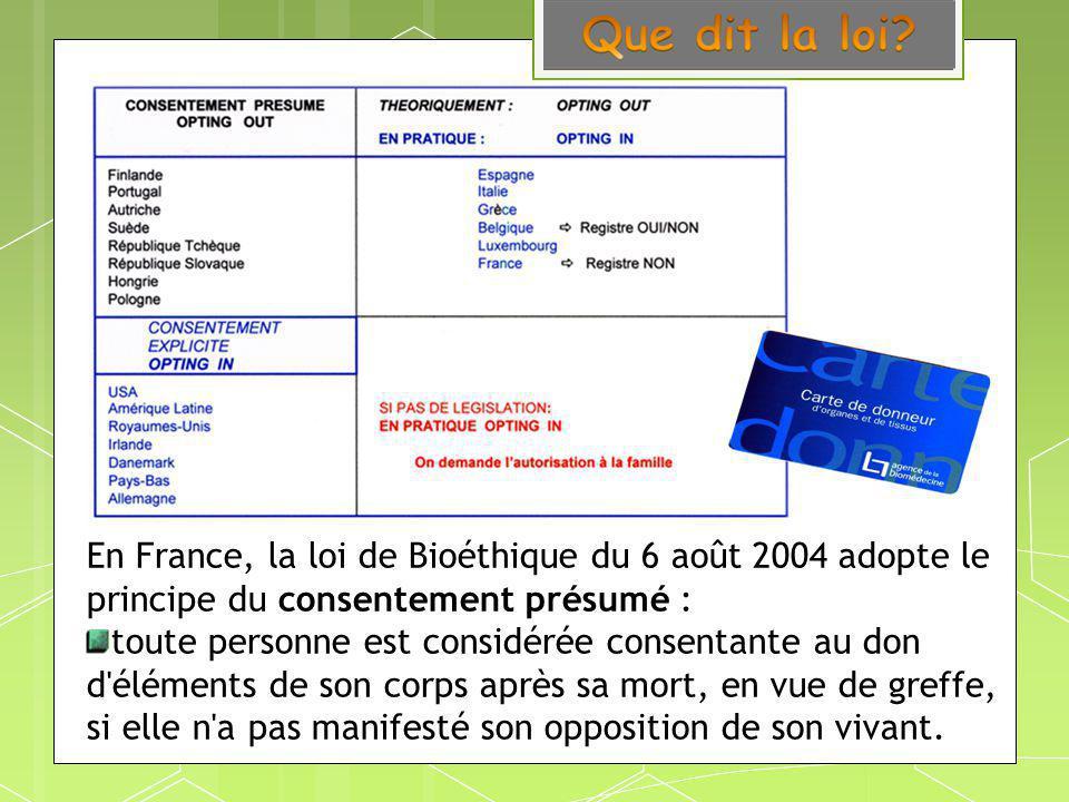 En France, la loi de Bioéthique du 6 août 2004 adopte le principe du consentement présumé : toute personne est considérée consentante au don d'élément