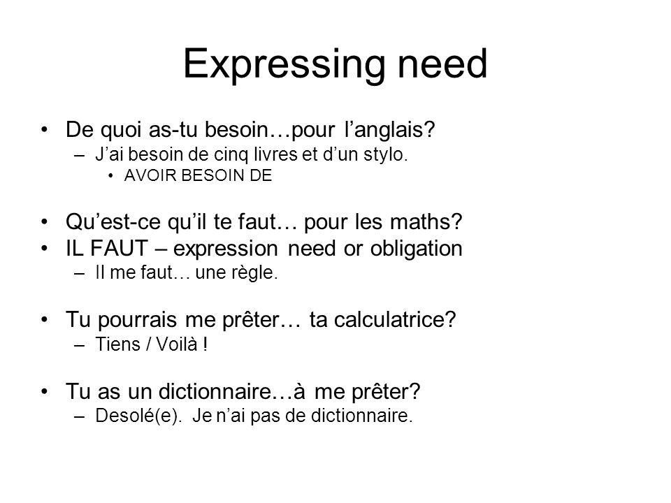 Expressing need De quoi as-tu besoin…pour langlais? –Jai besoin de cinq livres et dun stylo. AVOIR BESOIN DE Quest-ce quil te faut… pour les maths? IL