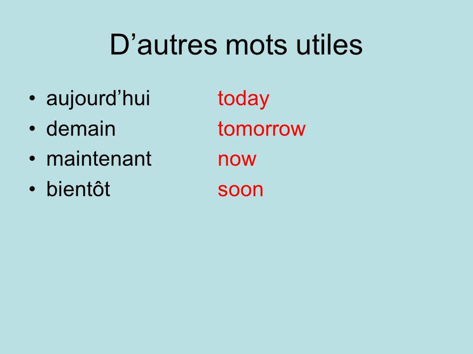 Dautres mots utiles aujourdhuitoday demaintomorrow maintenantnow bientôtsoon