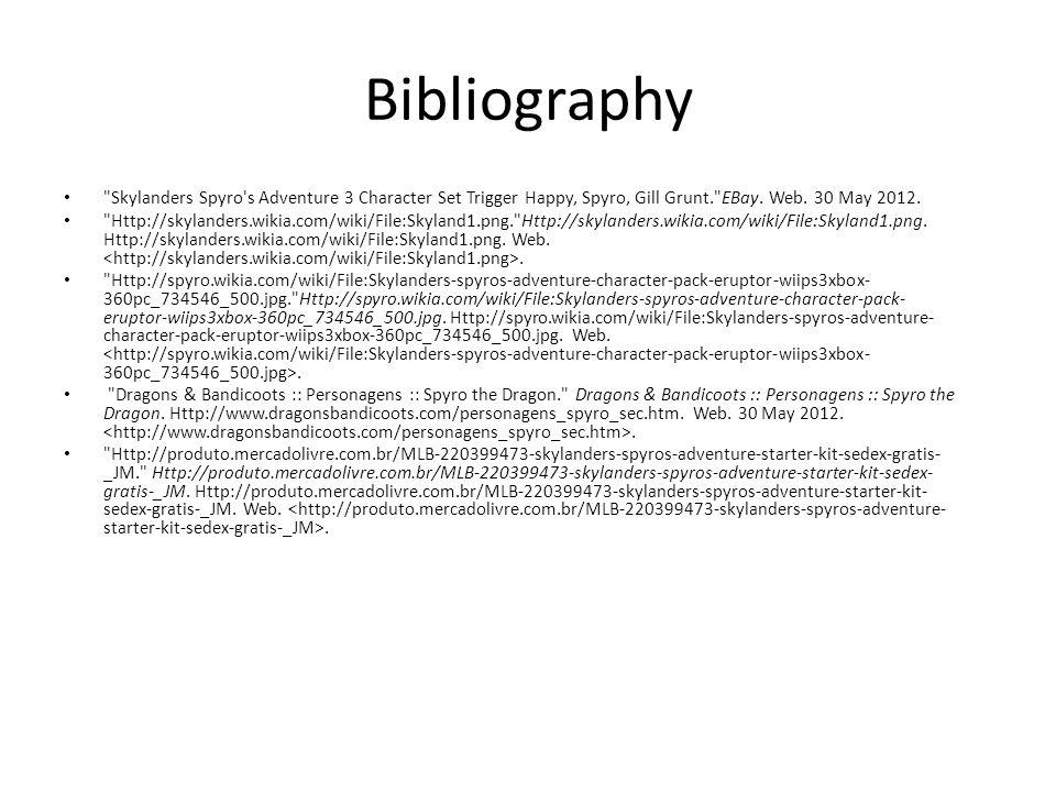 Bibliography Skylanders Spyro s Adventure 3 Character Set Trigger Happy, Spyro, Gill Grunt. EBay.