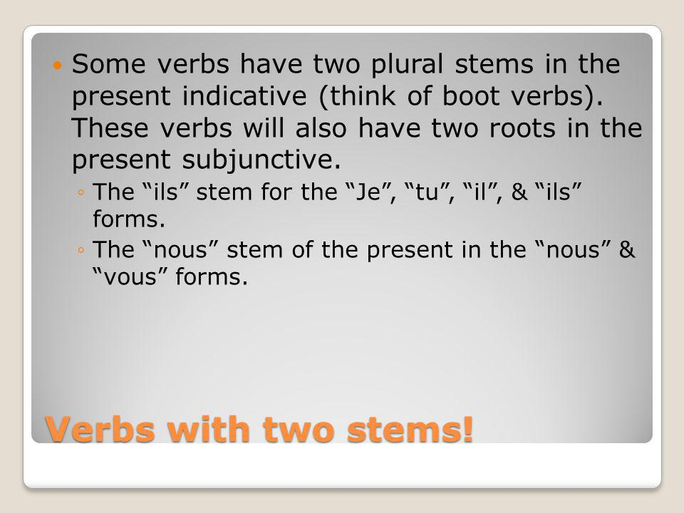 Verbs with two stems! Some verbs have two plural stems in the present indicative (think of boot verbs). These verbs will also have two roots in the pr
