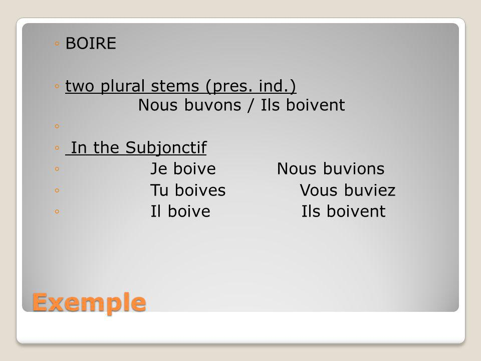 Exemple BOIRE two plural stems (pres. ind.) Nous buvons / Ils boivent In the Subjonctif Je boiveNous buvions Tu boives Vous buviez Il boive Ils boiven