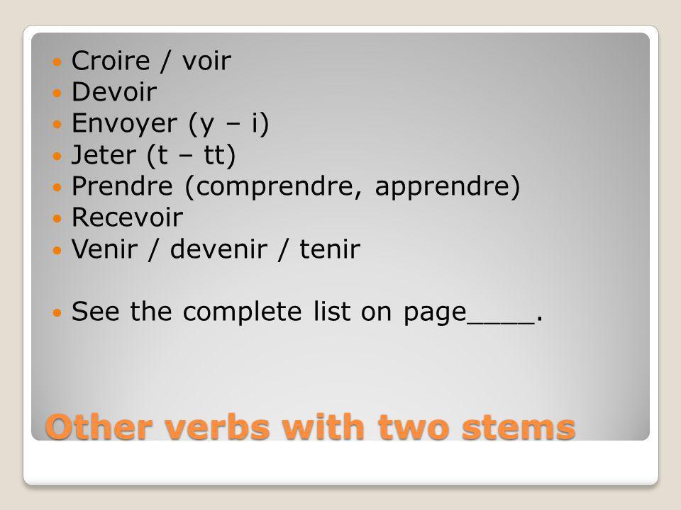 Other verbs with two stems Croire / voir Devoir Envoyer (y – i) Jeter (t – tt) Prendre (comprendre, apprendre) Recevoir Venir / devenir / tenir See th