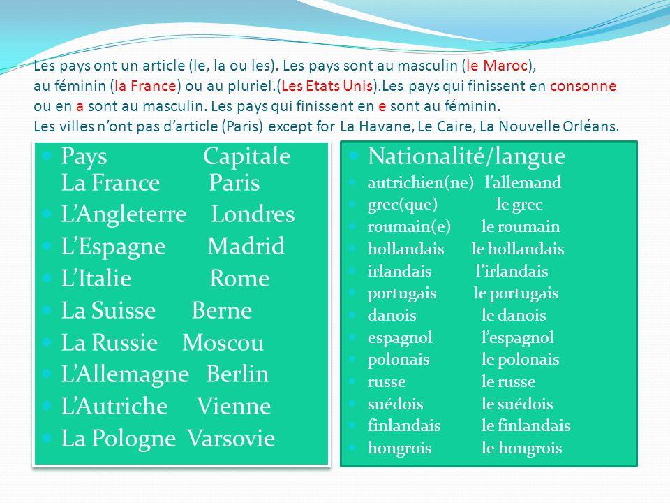 Les pays ont un article (le, la ou les). Les pays sont au masculin (le Maroc), au féminin (la France) ou au pluriel.(Les Etats Unis).Les pays qui fini