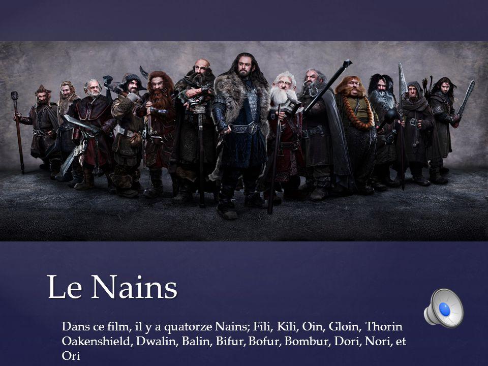 Le Nains Dans ce film, il y a quatorze Nains; Fili, Kili, Oin, Gloin, Thorin Oakenshield, Dwalin, Balin, Bifur, Bofur, Bombur, Dori, Nori, et Ori