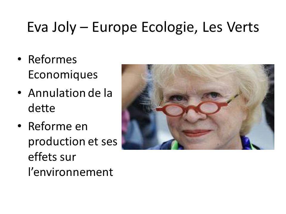 Eva Joly – Europe Ecologie, Les Verts Reformes Economiques Annulation de la dette Reforme en production et ses effets sur lenvironnement
