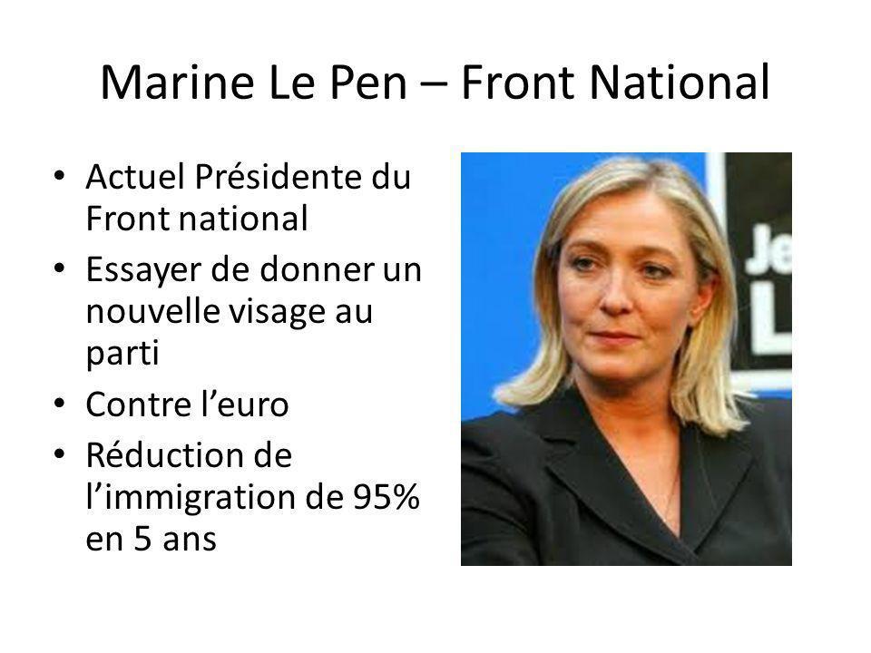 Marine Le Pen – Front National Actuel Présidente du Front national Essayer de donner un nouvelle visage au parti Contre leuro Réduction de limmigratio