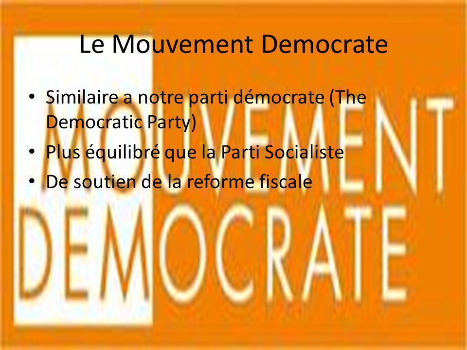 Le Mouvement Democrate Similaire a notre parti démocrate (The Democratic Party) Plus équilibré que la Parti Socialiste De soutien de la reforme fiscal
