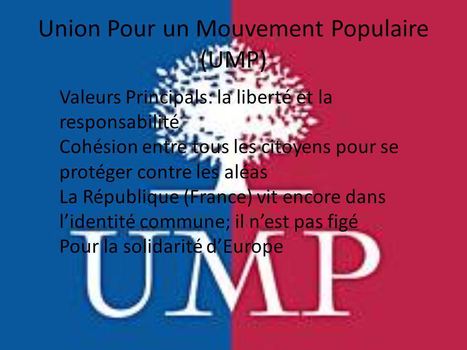 Union Pour un Mouvement Populaire (UMP) Valeurs Principals: la liberté et la responsabilité Cohésion entre tous les citoyens pour se protéger contre l