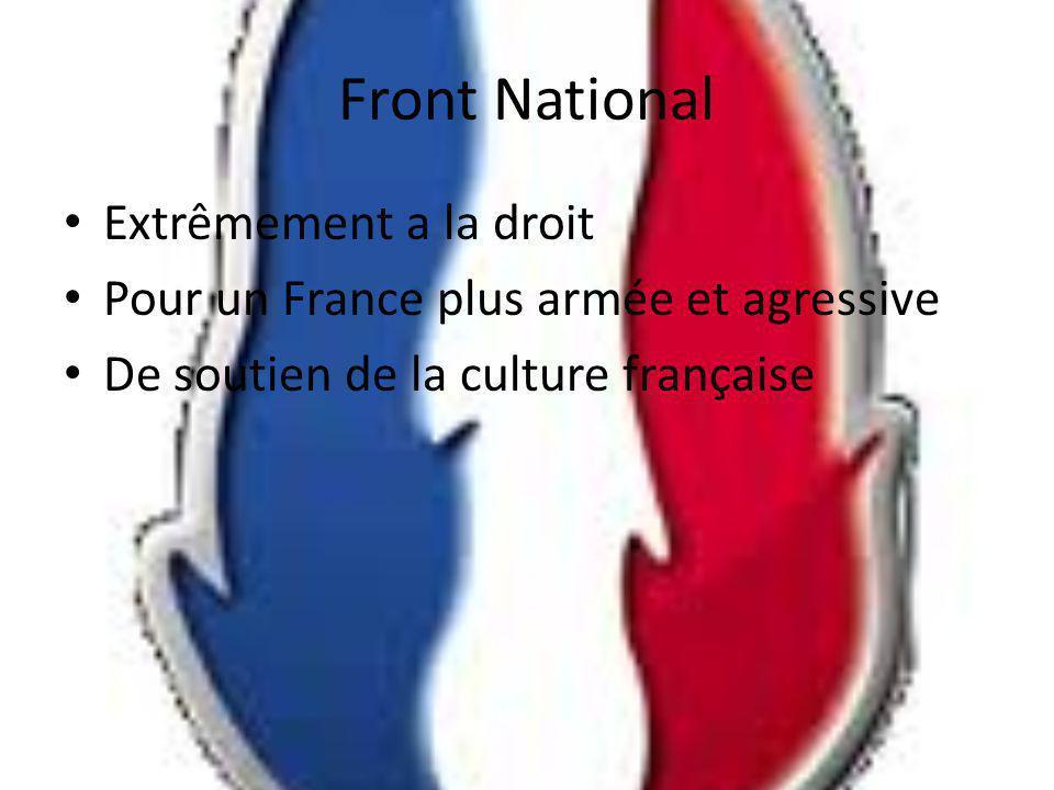 Front National Extrêmement a la droit Pour un France plus armée et agressive De soutien de la culture française