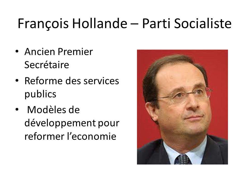 François Bayrou – le Mouvement Democrate Actuel députe des Pyrénées-Atlantiques Connu comme un homme daffaires Souhaite la reforme fiscale, production, et lindustrie