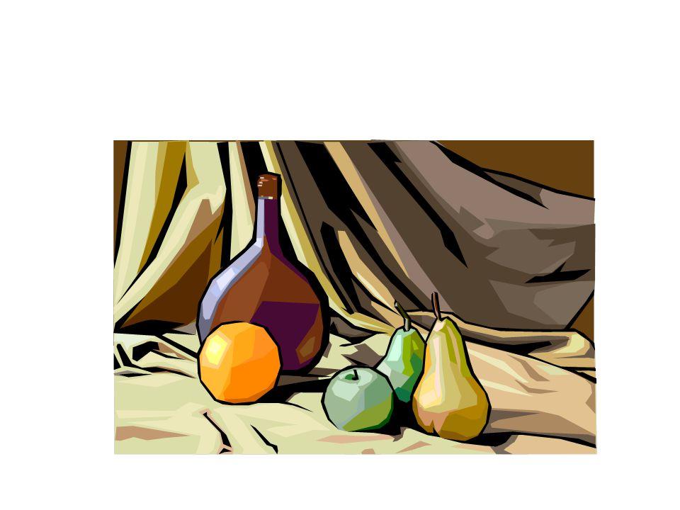 Il y a une orange, une pomme vert et des poires.