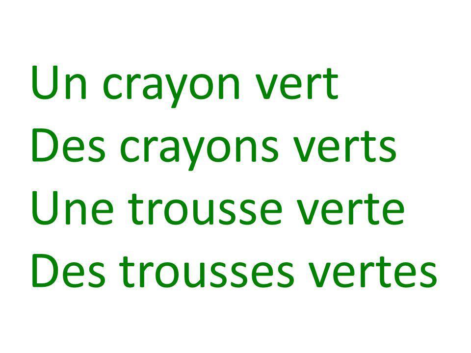 Un crayon vert Des crayons verts Une trousse verte Des trousses vertes