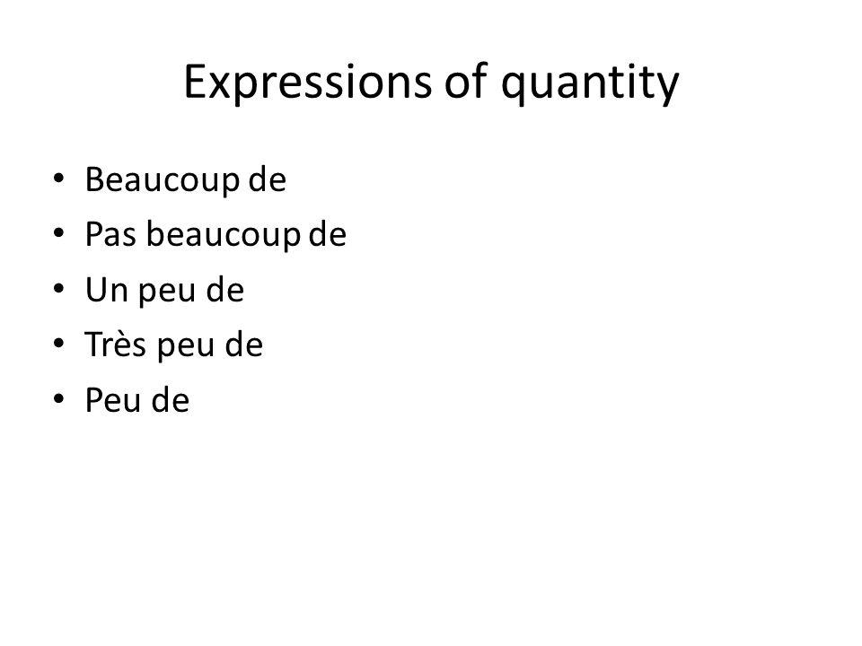 Expressions de quantités Comparison: Plus de…..que Moins de…..que Autant de…..que Sufficiency: Assez de Pas assez de Trop de Tant de