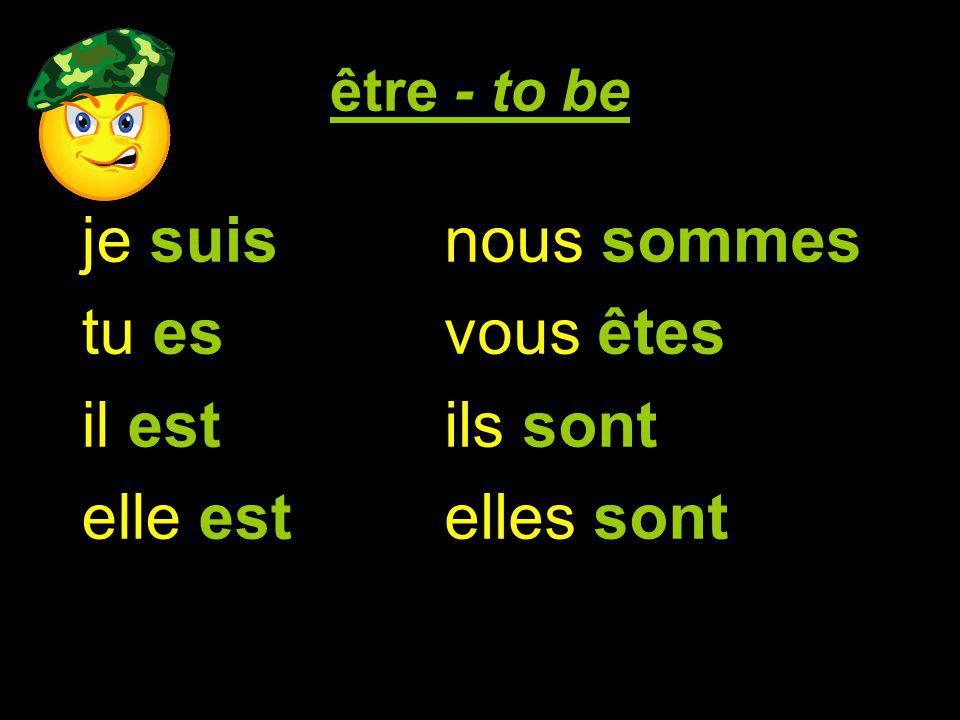 être - to be je suis tu es il est elle est on est nous sommes vous êtes ils sont elles sont I am you are he is she is we (informal) are we are you all are they are they (girls only) are