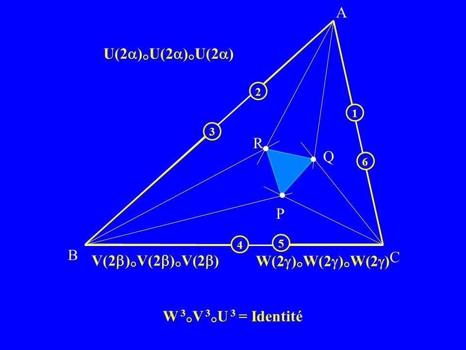 B C P Q R A V(2 ) ° V(2 ) ° V(2 ) U(2 ) ° U(2 ) ° U(2 ) W(2 ) ° W(2 ) ° W(2 ) 6 5 4 3 1 2 W 3 ° V 3 ° U 3 = Identité