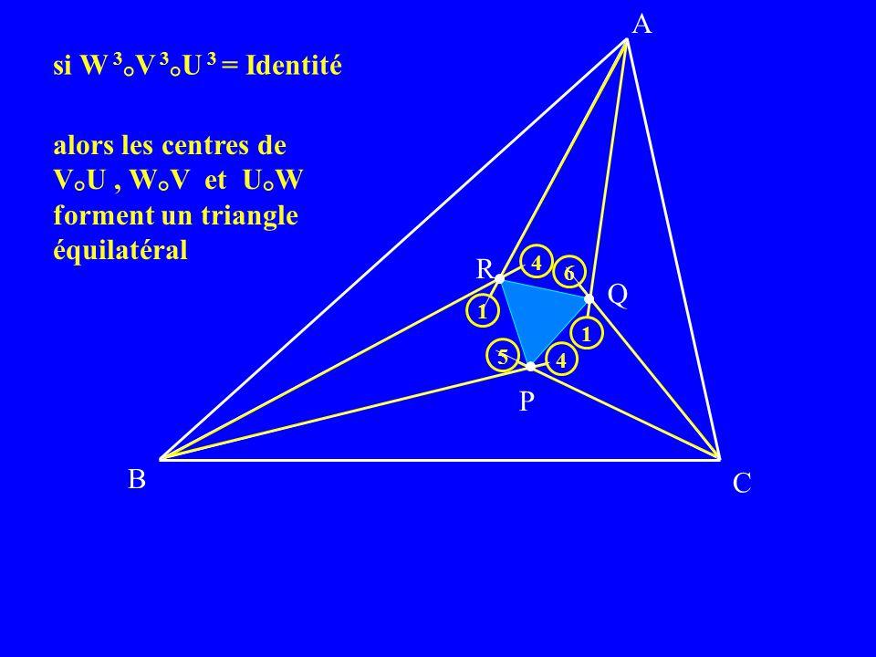 si W 3 ° V 3 ° U 3 = Identité alors les centres de V ° U, W ° V et U ° W forment un triangle équilatéral 4 1 4 6 5 1 B C P Q R A