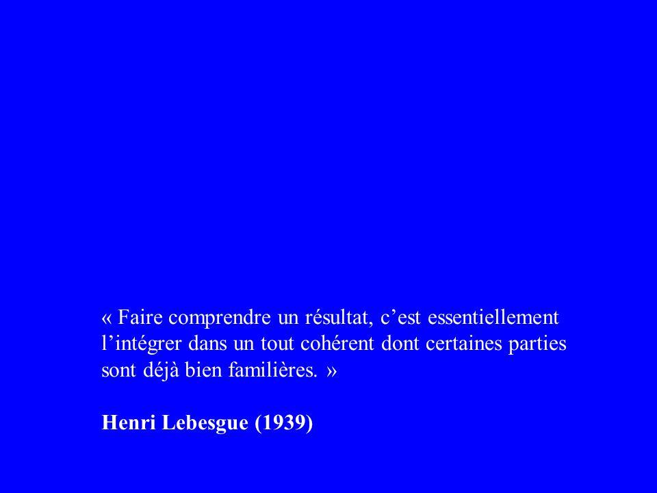 « Faire comprendre un résultat, cest essentiellement lintégrer dans un tout cohérent dont certaines parties sont déjà bien familières. » Henri Lebesgu