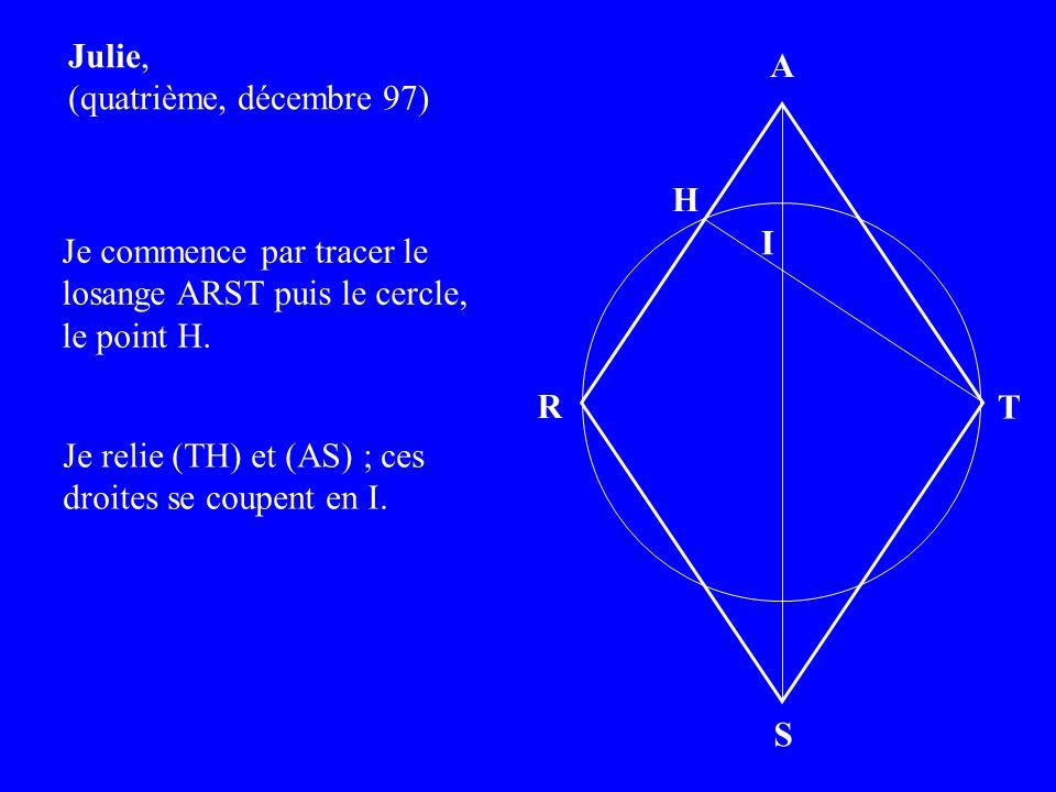 Julie, (quatrième, décembre 97) Je commence par tracer le losange ARST puis le cercle, le point H.