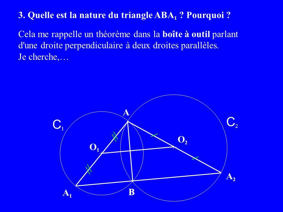 Cela me rappelle un théorème dans la boîte à outil parlant d une droite perpendiculaire à deux droites parallèles.