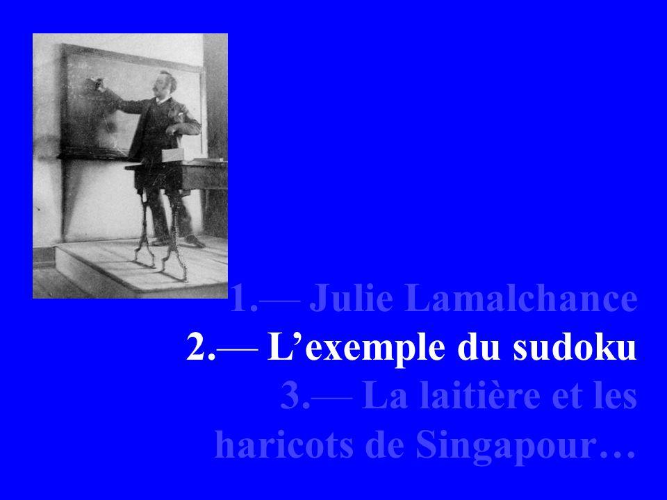1. Julie Lamalchance 2. Lexemple du sudoku 3. La laitière et les haricots de Singapour…
