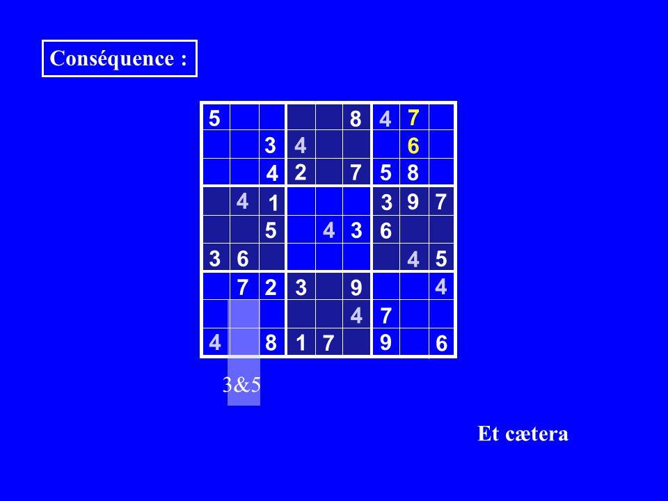 3 5 8 4 3 4 2 7 5 8 4 9 7 5 6 3 6 4 7 2 3 9 4 7 8 1 6 4 4 4 4 5 7 Conséquence : 9 3 1 3&5 7 6 Et cætera