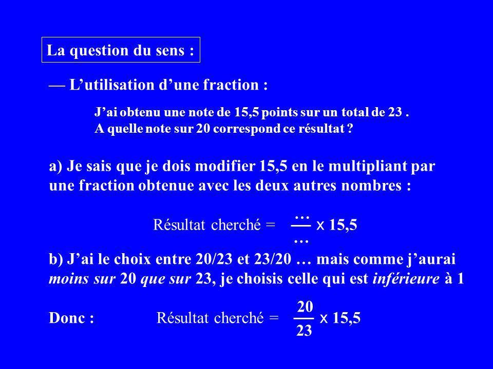 La question du sens : Lutilisation dune fraction : a) Je sais que je dois modifier 15,5 en le multipliant par une fraction obtenue avec les deux autres nombres : Résultat cherché = x 15,5 … … Jai obtenu une note de 15,5 points sur un total de 23.